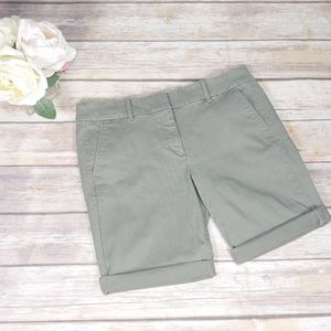 Loft Outlet Petite Green Roll Cuff Bermuda Shorts